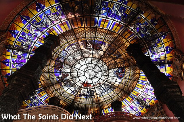 The stained glass roof of the 'Earth' section.