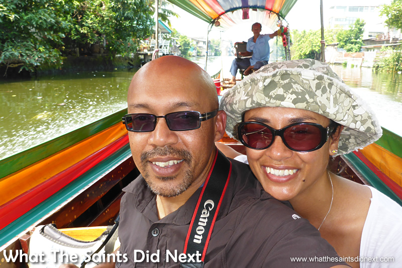 Our happy mood did not last the whole tour! Bangkok Long Tail Boat Tour.