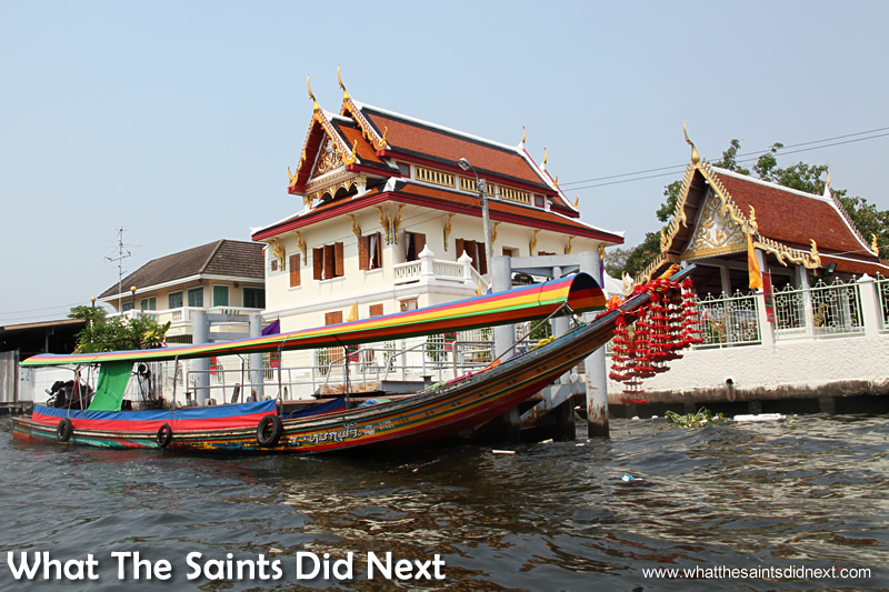 Long tail boats strike an elegant line on the Bangkok canals.