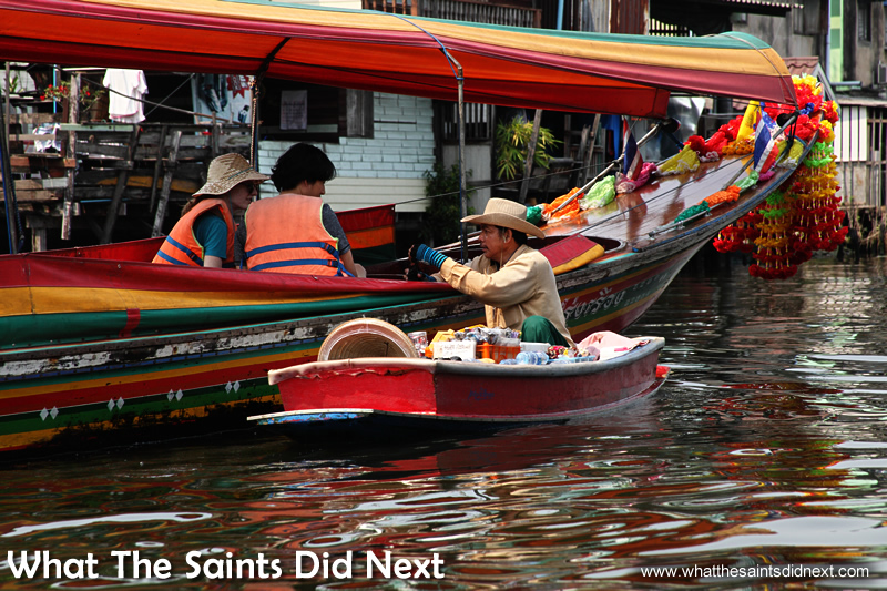 Floating market, Bangkok, Thailand – not many customers about today.