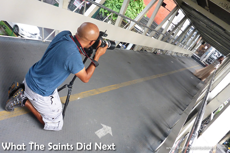 Our second look was shot on a commuter walkway bridge, over the busy Bangkok street.