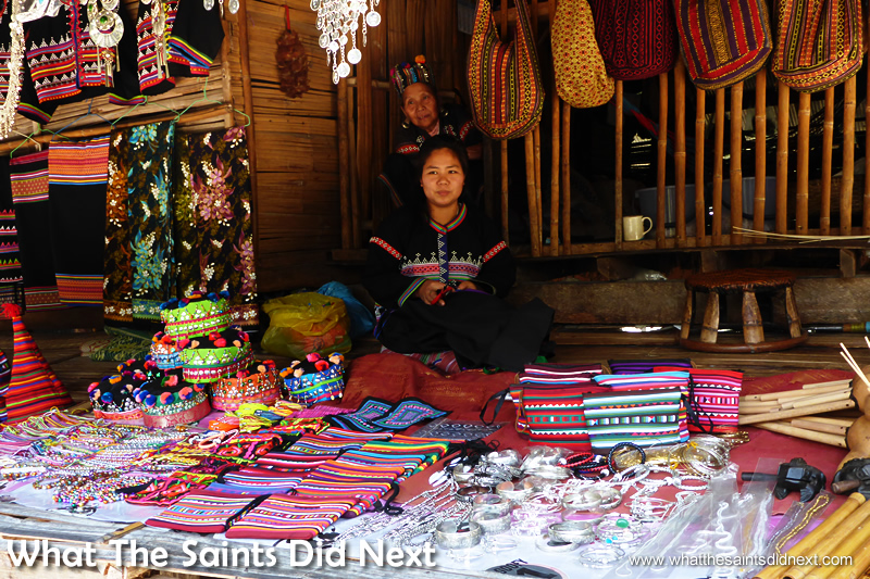 Hill tribes in Thailand sell a full range of souvenirs to tourists, although not everything is local craftwork.