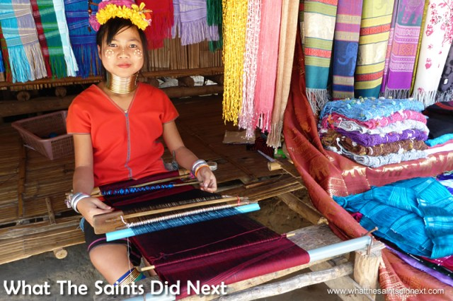 Weaving the scarves using traditional methods.