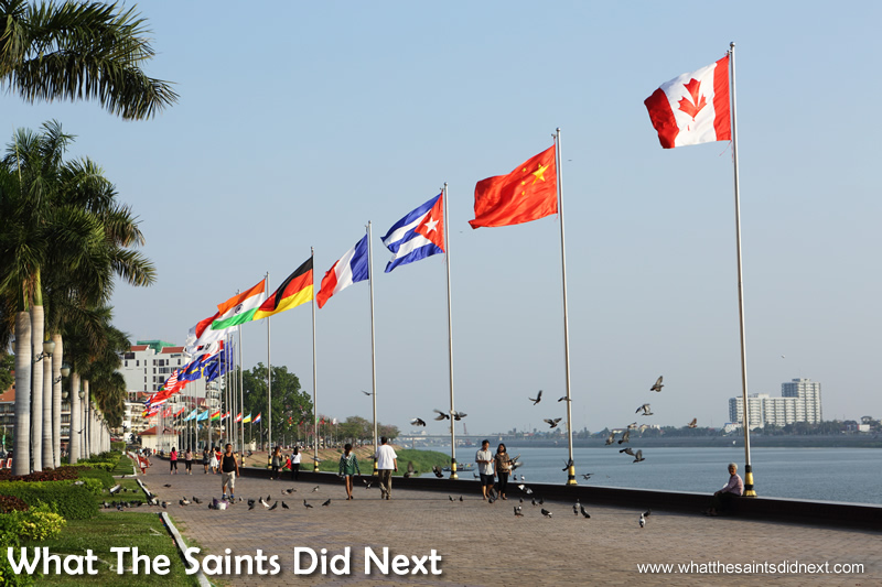 The international flags of the Riverside promenade.