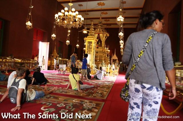 The Emerald Buddha inside the Silver Pagoda at The Royal Palace, Phnom Penh.