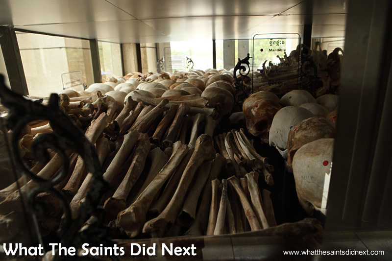 Human bones that have been collected, displayed inside the Stupa.