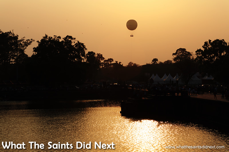 The hot air balloon photography at Angkor Wat sunset the previous day.