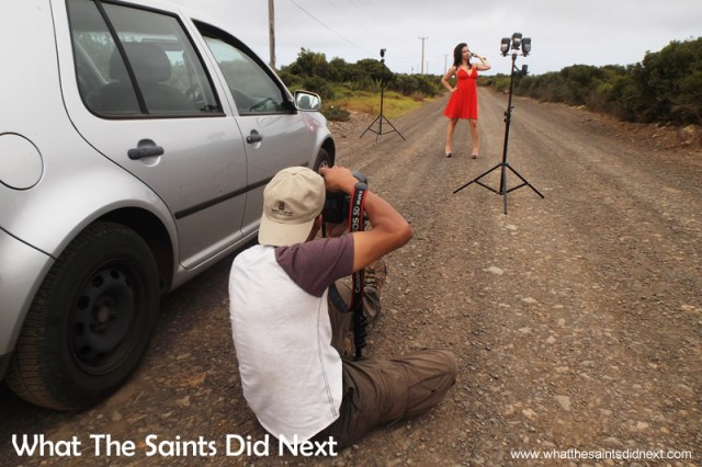 Using the monopod for stability with the longer lens. Miss St Helena photoshoot with Sinead Green.