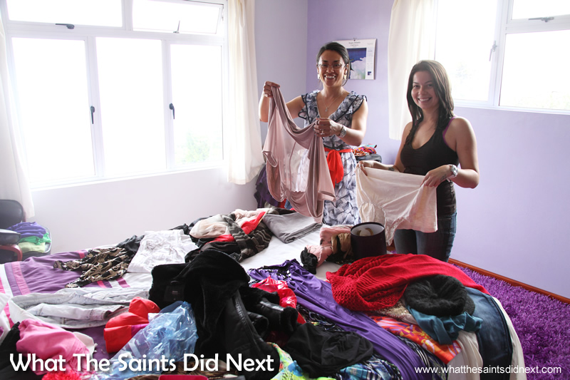 Sorting out the styling with plenty to choose from. Miss St Helena photoshoot with Sinead Green.