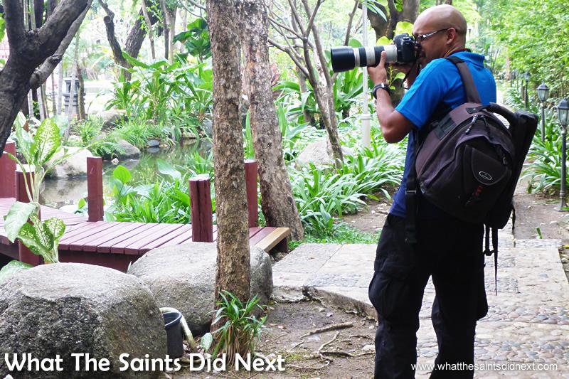 Shooting in the gardens of the Erawan Museum, Bangkok, Thailand.