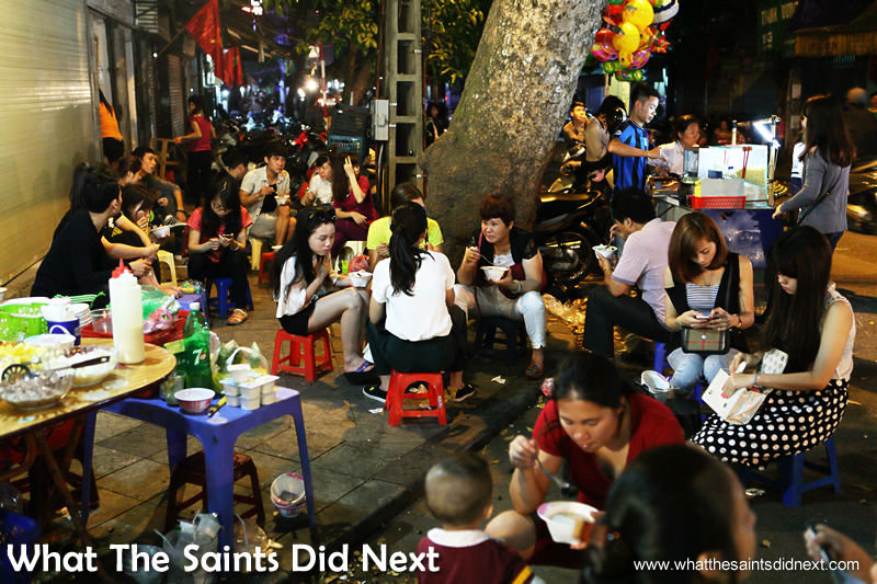 It doesn't take much to make a restaurant in Hanoi - where better to eat street food!  The Hanoi night market is great fun on the weekend.