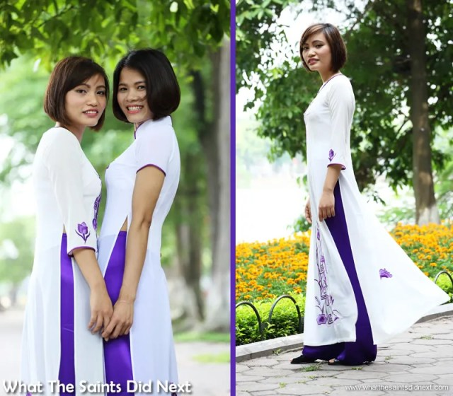 Shooting at the busy Lake we did well to find angles that gave us a clear background.  The Ao Dai photoshoot in Hanoi.
