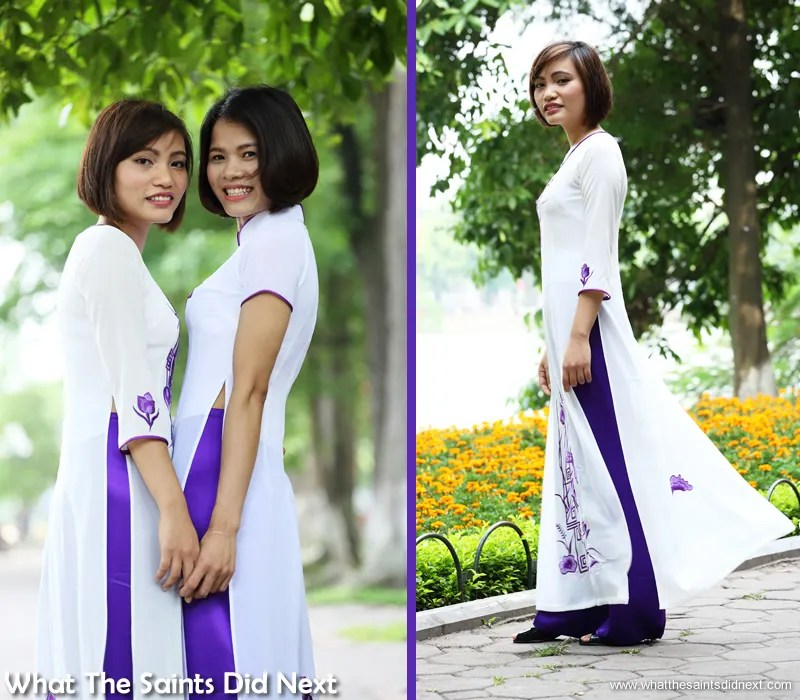 Ao dai in Vietnam photo shoot with beautiful Vietnamese girls at the busy Lake in Hanoi. We did well to find angles that gave us a clear background.