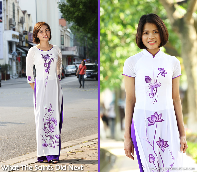 The ao dai dress grabs attention with its flowing, elegant lines.