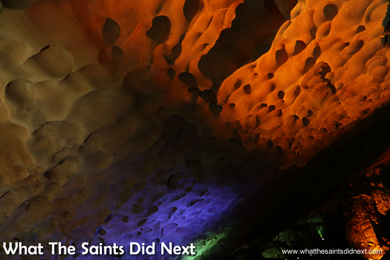 Another section of the impressive honeycomb-like ceilings inside the Sung Sot Cave.