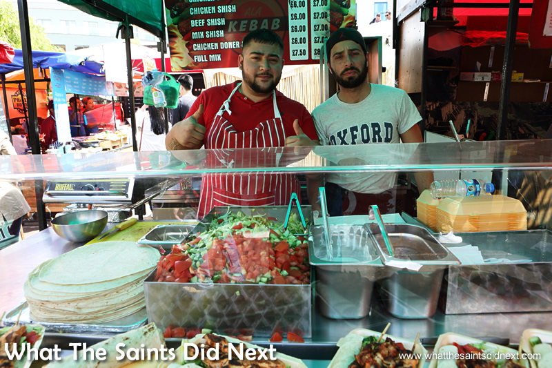 Turkish kebab sellers. Camden Market street food.