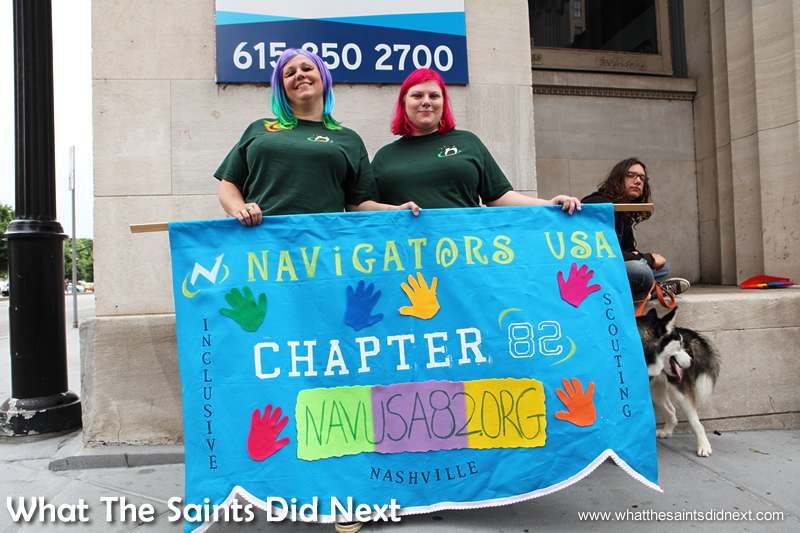 "April LeFever (left): ""I'm here celebrating of course because of yesterday. I'm also the co-leader of Navigators which is an inclusive nationwide scouting group. The big reason we're rocking is to make people aware that there is alternative scouting that includes everyone, boys and girls. ""Oh my gosh! Yesterday me and my children were screaming out on the porch came the ruling came in. I expected it to be Monday so I was a little surprised. We were cleaning the house and I had an alert set on my phone. ""I think everyone has the right to be able to be married with the person they love and for it to be recognised. I'm bisexual and have lots of friends that are gay and straight."""