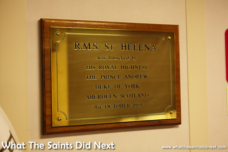 Well polished brass name plate on A Deck of the RMS St Helena.