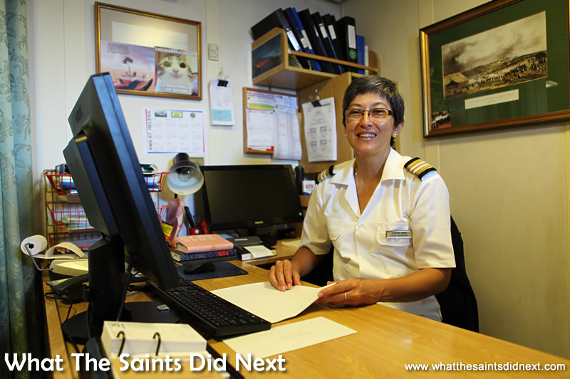 Sharon, one the familiar members of the ship's company.  Photos of the RMS St Helena.
