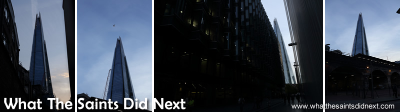 Some of the partial views we were stuck with from the low street level.  Photographing The Shard at sunset.