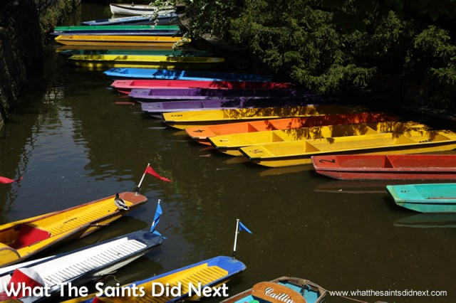 Punts lined up and ready for the summer tourists.  The City of Dreaming Spires.