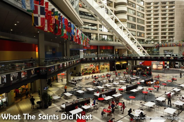 View of the hall from the opposite side as tour returns toward the ground floor. The CNN Center in Atlanta, Georgia.