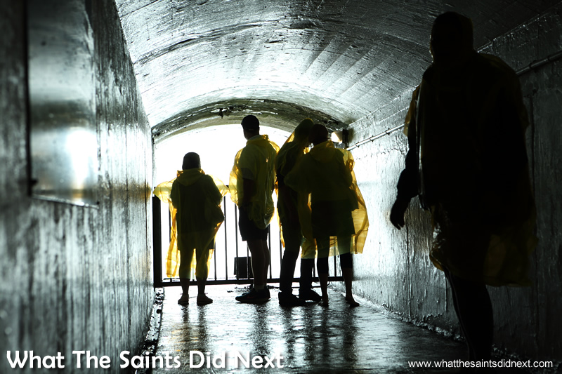 One of the two tunnel openings that allow you to stand directly behind the powerful Niagara Falls.