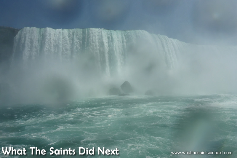 Viewing Niagara Falls from the deck of the Hornblower boat feels like a 4D movie themed ride.