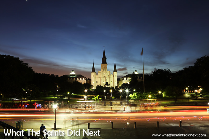 Saint Louis Cathedral is in the French Quarter of New Orleans. It is located next to Jackson Square and facing the Mississippi River. Nightfall brings a special look to the building and photographers visit in their hundreds to snap a night picture.