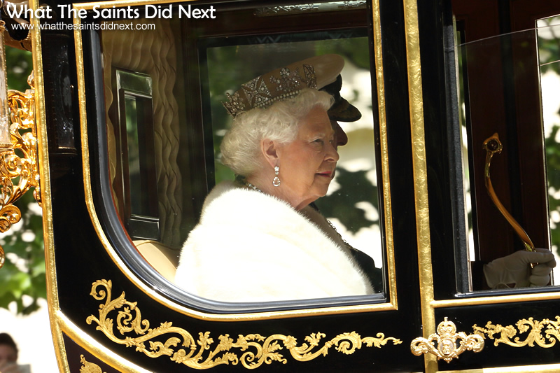 Her Majesty, Queen Elizabeth II, longest reigning British Monarch on her way to preside over the official State Opening of Parliament.