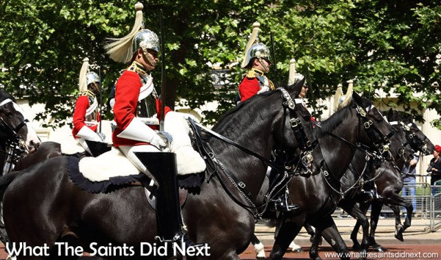 The Queen's Horse Guards parading down the Mall, London.