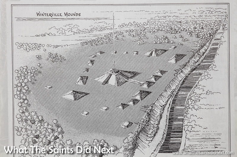 Winterville Mounds original layout as depicted on the museum brochure.
