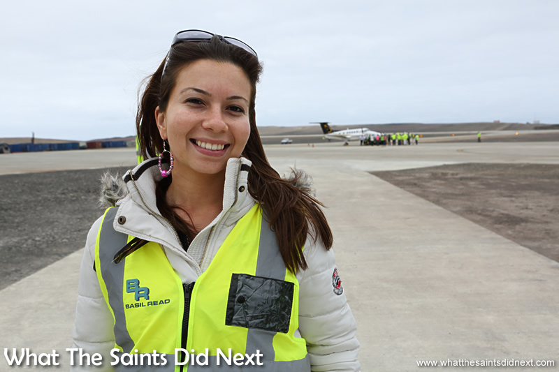 Reigning Miss St Helena, Sinead Green, was part of the welcoming committee to greet the flight crew.