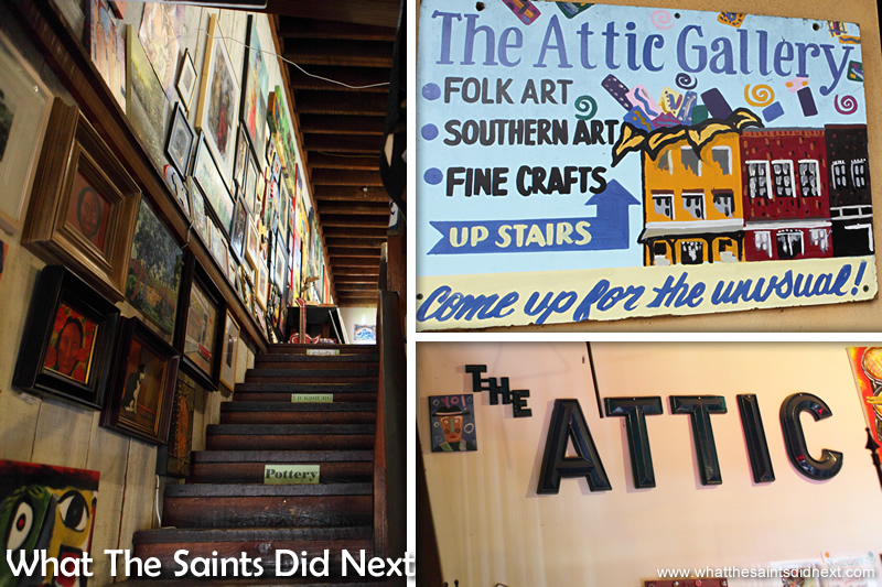 Entering the Attic Art Gallery in Vicksburg, Mississippi.