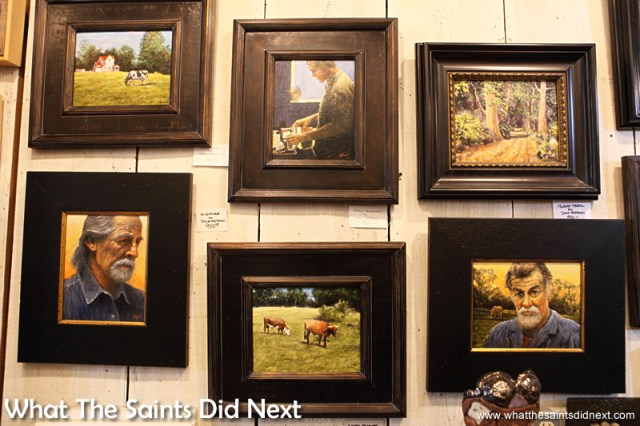 Traditional paintings in the Highway 61 Attic Art Gallery in Vicksburg hang alongside the quirky art.