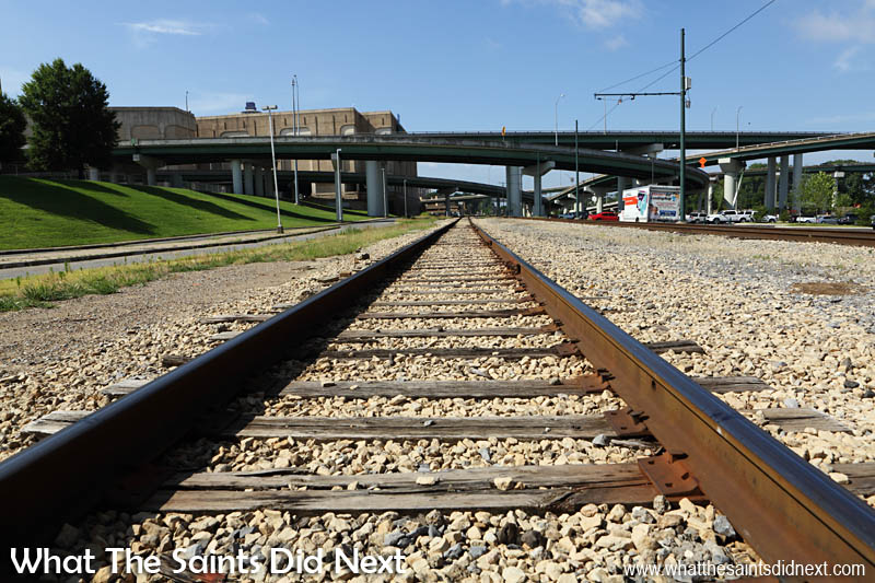 Didn't expect to be crossing railway tracks! Memphis sightseeing surprises.