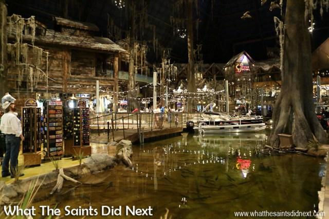 Inside the Bass Pro (Memphis Pyramid) shop, designed to look like a swamp area.