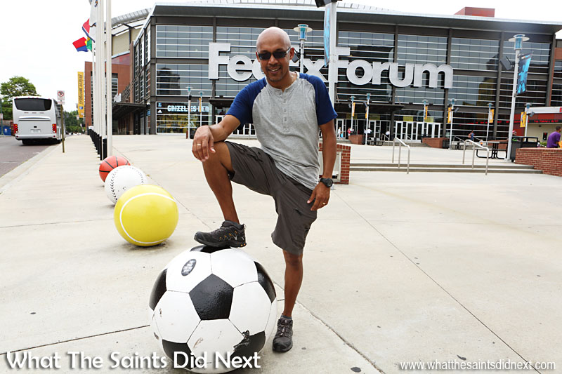 The sports balls give it away - the FedEx Forum is a sports arena, home to the Memphis Grizzlies. (basketball)