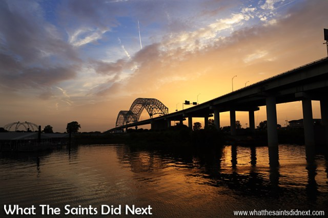 The Hernando De Soto Bridge across the Mississippi River in Memphis, Tennessee.