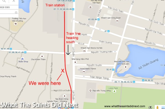 The route of the train and our position along the track. (GoogleMaps). Train track running through the narrow Train Street in Hanoi.