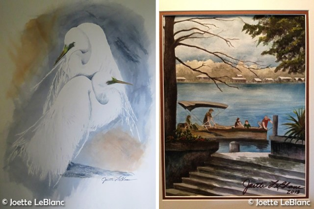 Paintings by Joette. Left, 'Love Mates' and right, 'Family Ties.' Artists From Baton Rouge.