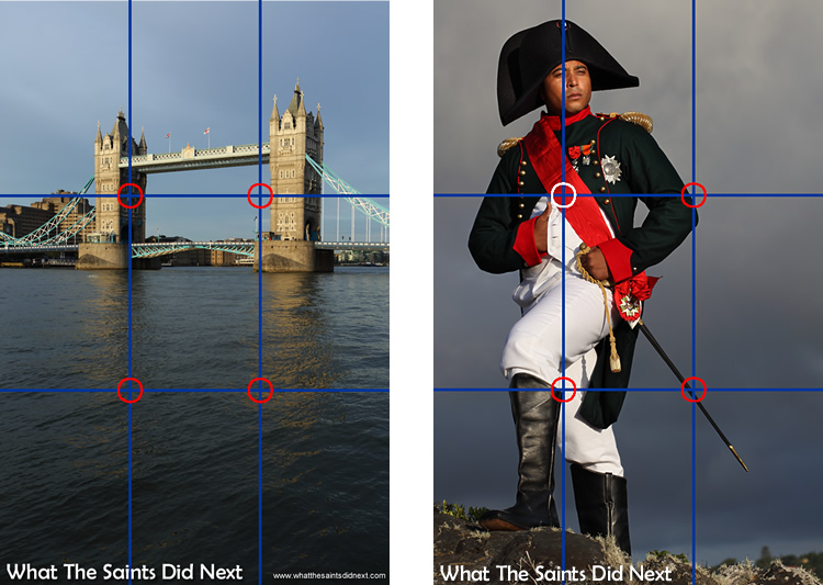 The Rule of Thirds works the same with the camera rotated in portrait mode. The picture of the 'Saint Napoleon' we are using the left vertical, while in the picture of Tower Bridge in London, the subject is aligned across the top horizonal line.