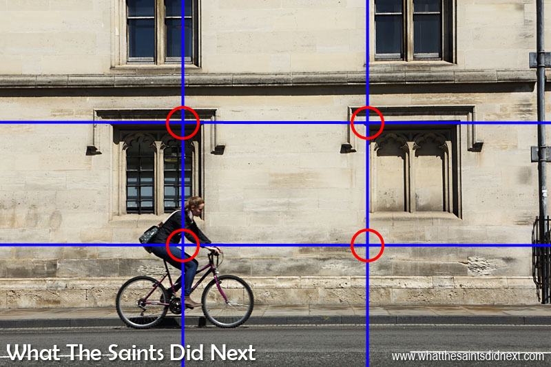 The Rule of Thirds in photography - helps enormously with composing this picture of a cyclist in Oxford, UK.