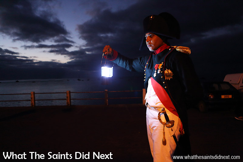 St Helenian, Merrill Joshua as Napoleon Bonaparte, making his way along the sea front to Porteous House in Jamestown as part of the bicentenary re-enactment of the 1815 arrival. The Napoleon St. Helena history.