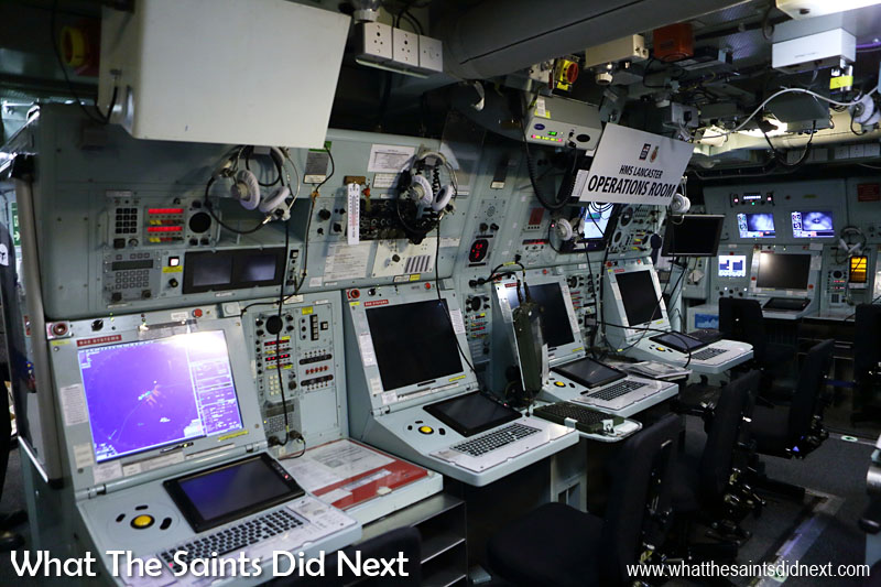 HMS Lancaster's Operation Room, the nerve centre of warship, where the battle is fought from. A team for each (air, surface and underwater) will co-ordinate the incoming reports and from radio, radar etc., then decide best action to take in terms of weapons to fire or manoeuvres to keep the ship safe. The ship's range of guns and missiles are fired from this room.