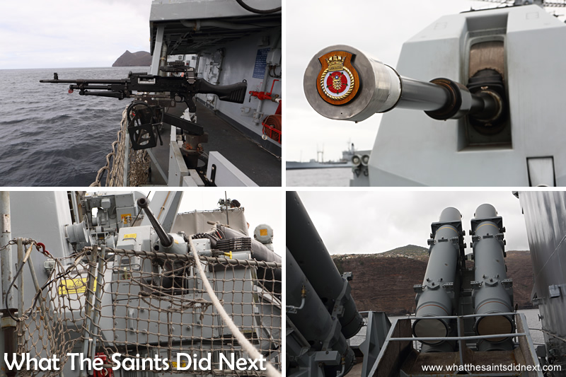 The different weapons systems on the upper deck of HMS Lancaster.