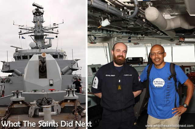 Pausing for a picture on the bridge of HMS Lancaster with Lee.