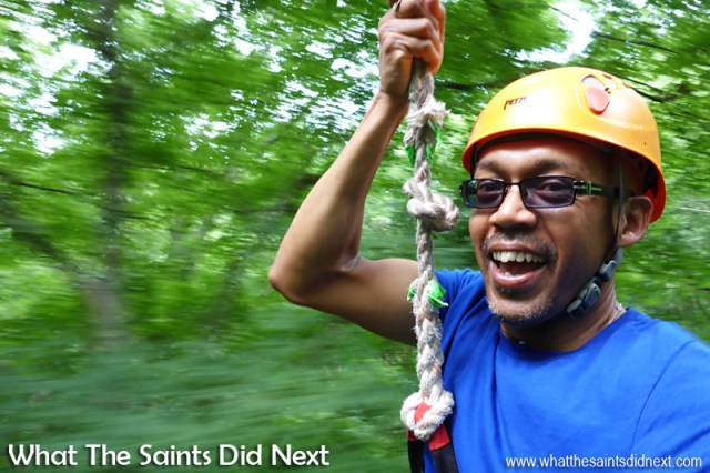Darrin took eight selfies during his 'zips' which were all a blurry mish-mash, but this one came out quite well, capturing the the rush effect through the tree tops. Zip lining with Music City Ziplines of Nashville.