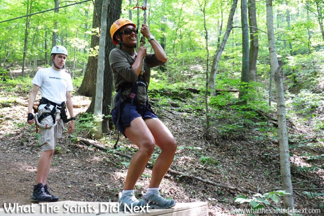 Moment of truth - and faith! Time to trust the zip line, sit down and let the ride begin! Zip lining with Music City Ziplines of Nashville.