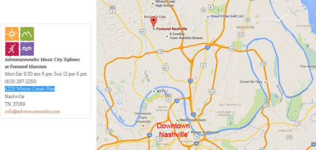 Zip lining with Adventure Works at Music City Ziplines of Nashville is less than 7 miles from Downtown Nashville, just off Highway 431. Although, considering traffic allow at least 30 mins to get there and probably an hour minimum at peak times. Click the map image or Click Here to visit their website for more details.